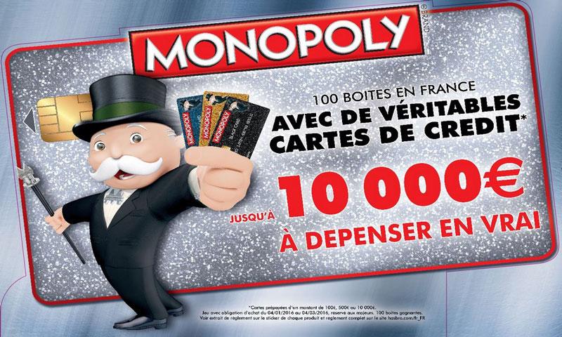 Opération cartes de crédit avec Monopoly